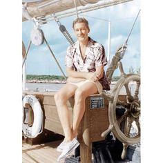 Errol Flynn Relaxing On His Yacht, Ca Canvas Print by Everett