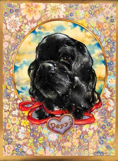 """Heartbraker Black Velvet"" (Peppi), (2015) crayon, acrylic and oil on canvas, (17x21cm)  by Tiina Lilja"