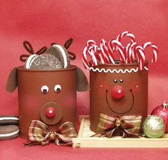 Love these cute kids crafts. Soup Can Crafts, Coffee Can Crafts, Tin Can Crafts, Christmas Projects, Holiday Crafts, Holiday Fun, Crafts With Tin Cans, All Things Christmas, Winter Christmas