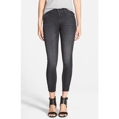 Hudson Jeans 'Luna' Raw Hem Crop Jeans ($157) ❤ liked on Polyvore featuring jeans, varnished, cropped jeans, cropped skinny jeans, hudson jeans, denim skinny jeans and raw hem jeans