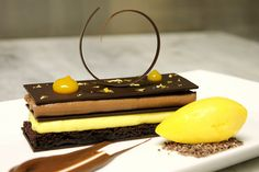 Chocolate Passion Fruit Napoleon with Passion Fruit Sorbet | Flickr: Intercambio de fotos