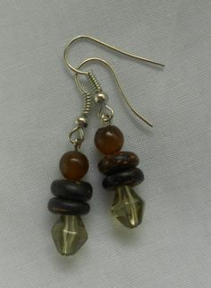 Handmade Earrings Green Bicone Beads with Coconut Button Beads 2014 Sold