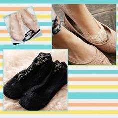 NEW LISTING NWT 2 Pr. Lace Bootie Socks New in bag. Black and light pink. 2 pair Lace socks.  One size fits most - recommend size 5-8. Sold separately for $7.  (2/12) Accessories Hosiery & Socks