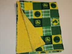 John+Deere+Baby+Security+Blanket+With+Yellow+Or+by+AuntBsBonnets,+$20.00