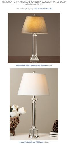 RESTORATION HARDWARE CHELSEA COLUMN TABLE LAMP vs OVERSTOCK'S STATELY CRYSTAL TABLE LAMP