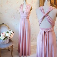 Nela Rose #Boutique1861 - Also in red, black and cream - A thousand way to wear this maxi pink dress for multiple occasions ! #promdresses #bridesmaids