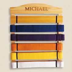 Martial Arts Belts Wooden Display Rack from Lillian Vernon