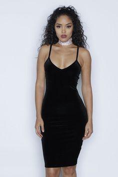 Sexy Spaghetti Strap Velvet Low Cut Bodycon Knee-Length Dress