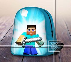 Steve and Diamond Sword Amazing Famous Game - Game Design For Kids School Bag Backpack