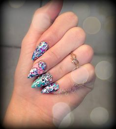 My adorable almond nails with 3D bows and swarovski crystals