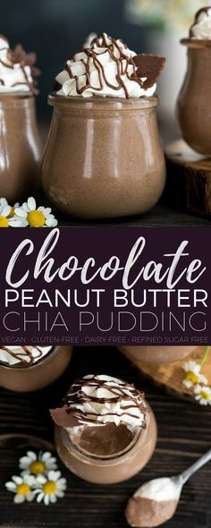 Creamy Chocolate Peanut Butter Chia Pudding is the perfect make-ahed breakfast, healthier dessert or afternoon snack! This recipe is loaded with good-for-you ingredients but tastes like a decadent treat! #vegan #glutenfree #dairyfree #chiapudding #chocolate #peanutbutter #almondmilk #chiaseeds #breakfast #healthydessert #healthysnack #recipe via @joyfoodsunshine