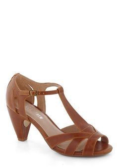 How Do You Feel? Heel in Brown by Chelsea Crew - Tan, Solid, Cutout, Peep Toe, Mid, Leather, Party, Work, Vintage Inspired, 20s, 30s, Top Rated