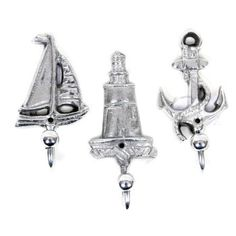 sailboat, lighthouse, anchor shower curtain hooks