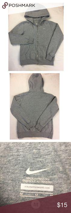 Woman's Nike hoodie size M Woman's gray Nike zip up hoodie, lightly used, good condition, Medium, no holes, no stains, Nike Tops Sweatshirts & Hoodies