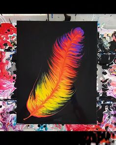 Acrylic POUR Feather Technique - Paint Kiss Feather Tutorial by Olga Soby from S. - kreativ - Acrylic POUR Feather Technique – Paint Kiss Feather Tutorial by Olga Soby from Smart Art Material - Flow Painting, Feather Painting, Feather Art, Pour Painting, Feather Drawing, Feather Tattoos, Acrylic Pouring Techniques, Acrylic Pouring Art, Acrylic Art