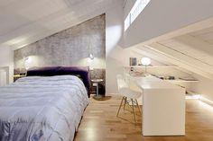 Attic transformed into apartment | Interior design | Working space | Bedroom | Designer: Elisa Manelli