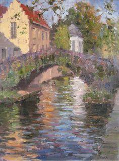Historic Bridge, Bruges \\ Artist - Eugene J. Impressionist Artists, Impressionism Art, Landscape Drawings, Bruges, Watercolor Illustration, Cool Artwork, Beautiful Landscapes, Amazing Art, Photo Art