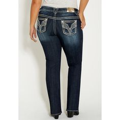 maurices Plus Size - Vigoss Slim Boot Jeans ($88) ❤ liked on Polyvore featuring jeans, dark sandblast, plus size, maurices jeans, plus size metallic jeans, dark wash jeans, blue jeans and mid-rise jeans