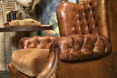 The detail on our tufted vintage leather chair. Gorgeous. http://bdantiques.com/