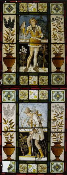 AESTHETIC MOVEMENT  'SPRING' AND 'WINTER', CIRCA 1880,  two stain-painted and leaded glass panels, the central panels depicting a falconer and stick gatherer within floral and foliate borders (2) 68.5cm x 52cm  |  Sold for £525