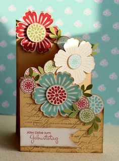 Mixed Bunch cascading card-- Polly we could do something like this. Tri Fold Cards, Fancy Fold Cards, Folded Cards, Cascading Card, Cascading Flowers, Pretty Flowers, Tarjetas Diy, Karten Diy, Shaped Cards