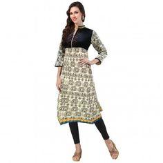 Kurtis - Buy Designer Kurti Online For Women Off - IndiaRush Girls Kurti, Ethnic Kurti, Absolutely Gorgeous, Beige, Indian, Printed, Cotton, Stuff To Buy, Collection