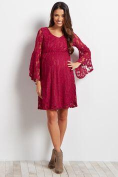 Black Lace Overlay Slit Bell Sleeve Maternity Dress
