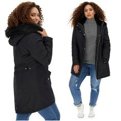 Womens Ladies Black Faux Fur Trim Padded Winter Parka Plus Size UK 28 Lightweigh #SimplyBe #Parka #BusinessCasualTravelWorkwear Winter Parka, Winter Jackets, Fur Trim, Business Casual, Size Clothing, Coats For Women, Plus Size Outfits, Work Wear, Faux Fur