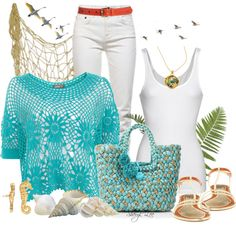 """Suzie sells sea shells down by the sea shore"" by sheryl-lee ❤ liked on Polyvore"
