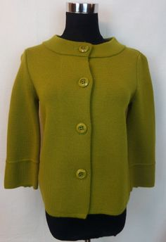 JCrew J Crew Sweater Cardigan Green Lime Wool Woman Knit Top Buttons XS  #Style #Fashion #Deal