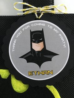 """These treat bags are a perfect addition to your Batman themed party. It's the perfect way to say, """"Thank You,"""" for celebrating the birthday kid's big day! This listing is for a set of 12 reusable - durable mini tote favor bags and 12 personalized Thank You tags. You just have to fill"""