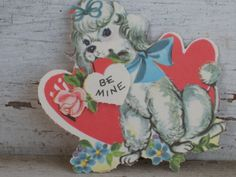 Vintage 1960s Mechanical Valentine Poodle with Hearts (568-D)