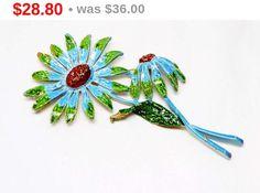 Vintage Flower Brooch - Designer Signed ART - Blue & Green Enamel Pin - 1960's Flower Power Style Jewelry by thejewelseeker on Etsy https://www.etsy.com/listing/237794803/vintage-flower-brooch-designer-signed