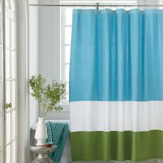 Lakeside Shower Curtain - bold bright bands are pieced together for a fresh pop of color.