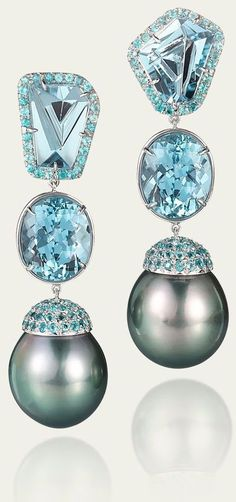Fine jewelry / karen cox. Tamsen Z Black. Tahitian Pearl & Aquamarine Earrings.