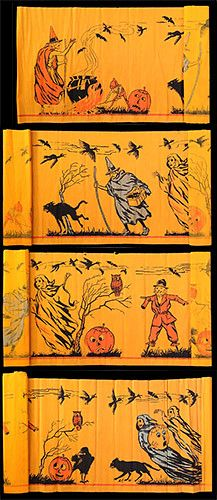 Vintage Halloween collectible crepe paper design Halloween Scene by Dennison circa 1921 Vintage Halloween Images, Retro Halloween, Vintage Halloween Decorations, Halloween Pictures, Halloween Cat, Halloween Night, Holidays Halloween, Paper Halloween, Halloween Drawings