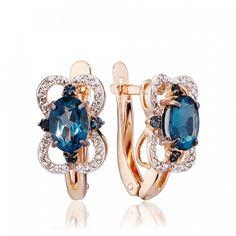 Серьги с топазами london и бриллиантами 16550 тов № 585-384803 – ювелирный интернет-магазин 585