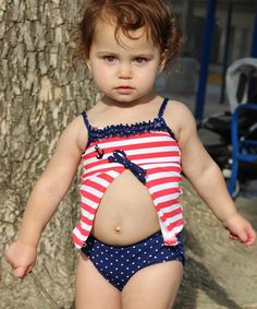 Look at this Blue & Red Stripe Anchor Open Tankini - Infant, Toddler & Girls on #zulily today!