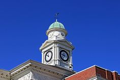 The clock on the courthouse in Kosciusko, Ms. It can be heard all over town when it chimes on the hour and the half-hour.