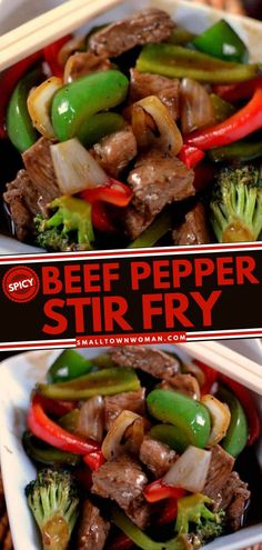 4 reviews · 45 minutes · Gluten free · Serves 4 · This beef main dish is a healthy addition to your dinner! Spicy Beef Pepper Stir Fry is mixed with vegetables like bell peppers, broccoli, onions for that healthy twist. Add this to your beef recipes… Asian Recipes, Beef Recipes, Cooking Recipes, Oriental Recipes, Stir Fry Recipes, Chinese Recipes, Spicy Recipes, Family Recipes, Family Meals