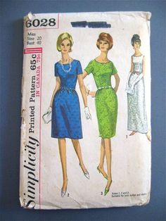 Vintage 60s Simplicity 6028 sewing pattern for wiggle dress.