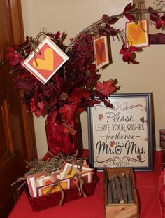 Fall Bridal Shower. We made this instead of the traditional guest book.