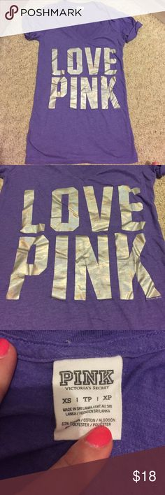 PINK V-NECK Excellent condition. Beautiful shade of purple. Silver letters. Vneck. PINK Victoria's Secret Tops Tees - Short Sleeve