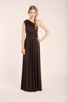 Simple Chocolate Brown Dress Evening long Dress Event Dresses by mimetik
