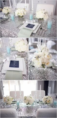 sparkly silver table linens, sparkly wedding decor, sparkly wedding reception ideas, sparkly wedding ideas. Gold for meeee