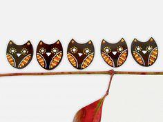 Refrigerator Magnets  5 Owl Fridge Magnet Set Halloween by WooHue