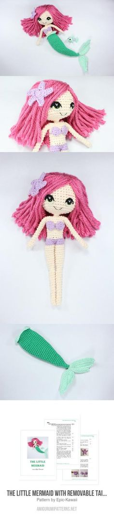 The Little Mermaid with Removable Tail and Fish Friend amigurumi pattern