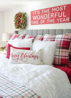 Plaid Christmas Bedroom / Featuring white walls, Red Plaid Bedding and a full spru