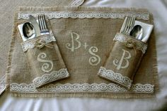 Bride and Groom table setting, Burlap wedding table decorations, country rustic, Garden, woodland cottage, French country weddings. $23.70, via Etsy.
