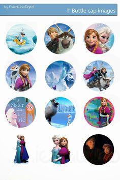 """Folie du Jour Bottle Cap Images: Frozen free digital bottle cap images 1"""" 1 inch"""
